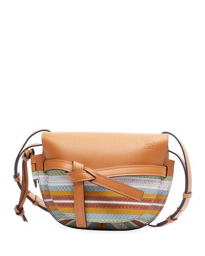 Gate Striped Snake-Print Leather Shoulder Bag
