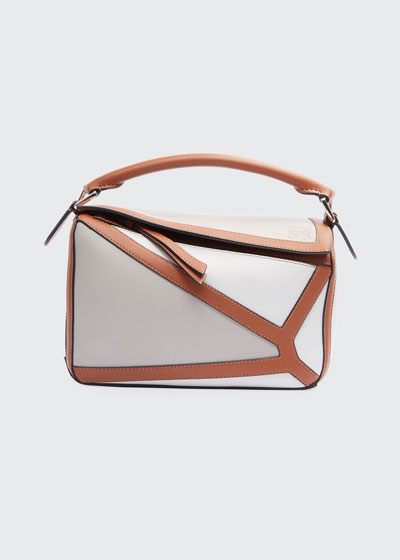Puzzle Two-Tone Leather Satchel Bag