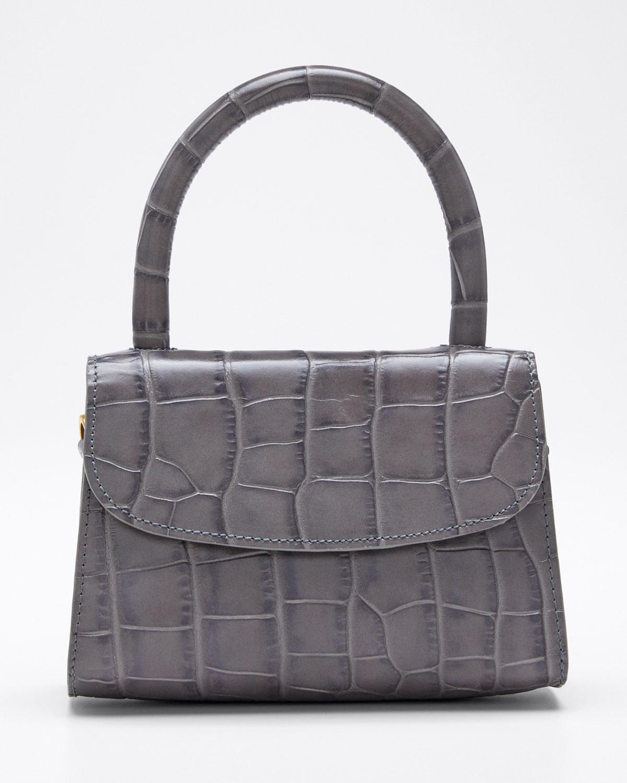 By Far Bags MINI CROC-EMBOSSED TOP HANDLE BAG
