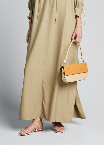 Danse Lente Two-Tone Embossed Leather Shoulder Baguette