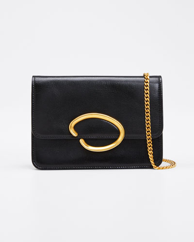 O Chain Leather Wallet Crossbody Bag