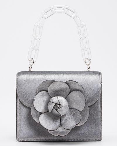 Mini Tro Metallic Fur Crossbody Bag with Rose