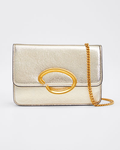 O Chain Metallic Leather Wallet Crossbody Bag