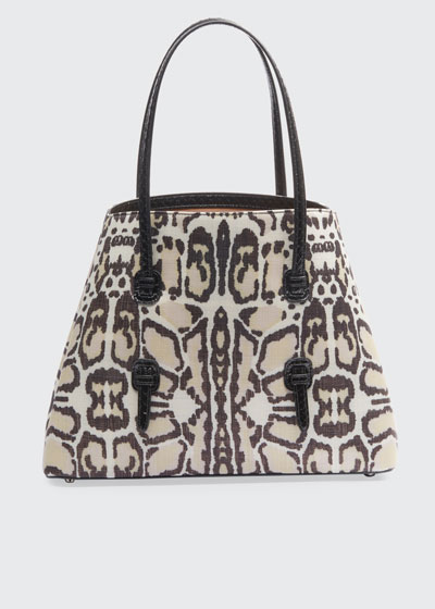 Mina Leopard-Print Medium Tote Bag