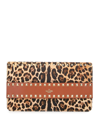 Rockstud Leopard Clutch Bag