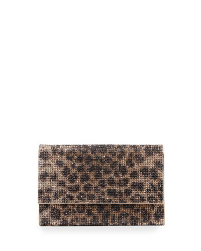 Fizzoni Leopard Clutch Bag with Crossbody Strap