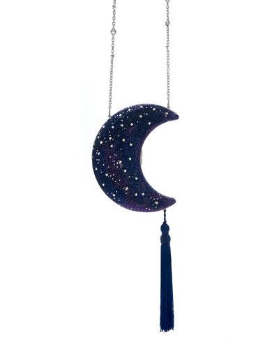 Crescent Moon Galaxy Crystal Clutch Bag