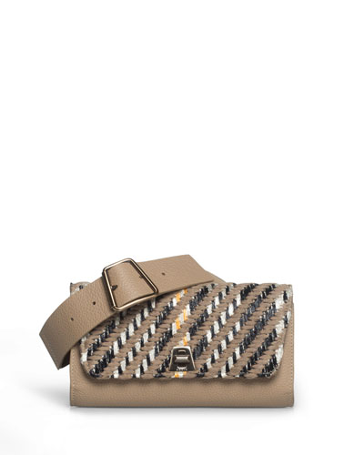 Anouk Small Woven Flap Belt Bag