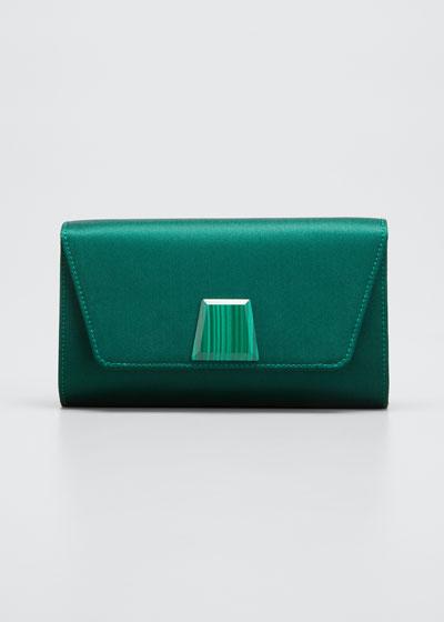 Anouk Mini Satin Clutch Bag with Onyx Trapezoid