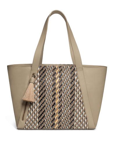 Alexa Medium Leather Tote Bag with Tassel