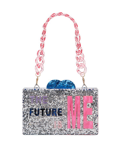 Girl's The Future Is Me Acrylic Box Clutch Bag