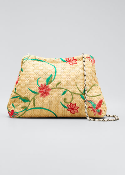 Vague Small Floral-Print Raffia Clutch Bag