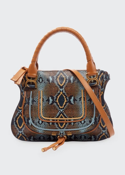Marcie Medium Python-Print Double Carry Shoulder Bag