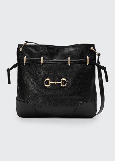 1955 Morsetto Small Leather Horsebit Drawstring Bucket Bag