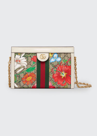 Ophidia Small GG Supreme Flora Shoulder Bag