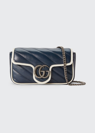 GG Marmont Torchon Super Mini Crossbody Bag - Silver Hardware