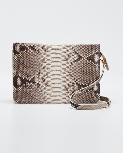 Soft Zip Python Crossbody Bag