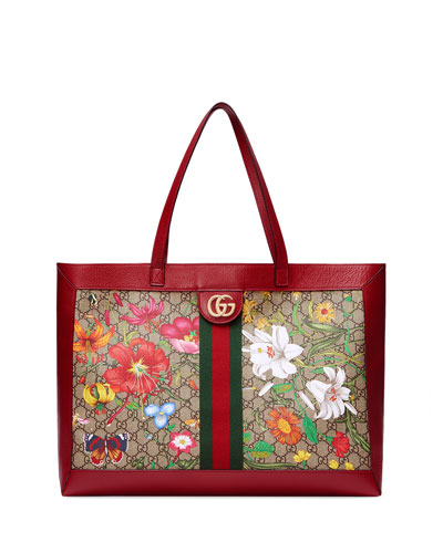 Ophidia Medium GG Flora Tote Bag