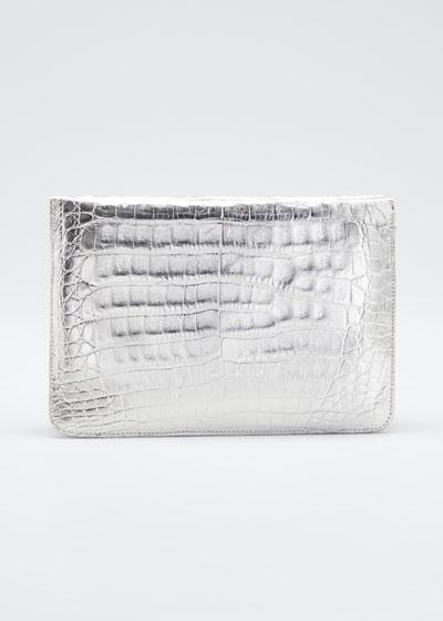 Soft Zip Croc/Calf Crossbody Bag