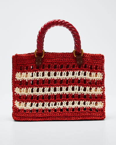 Lucia Striped Mini Tote Bag, Red