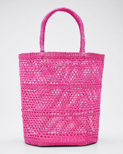 Woven Straw Basket Tote Bag