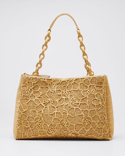 Large Woven Floral Cutout Miranda Tote Bag