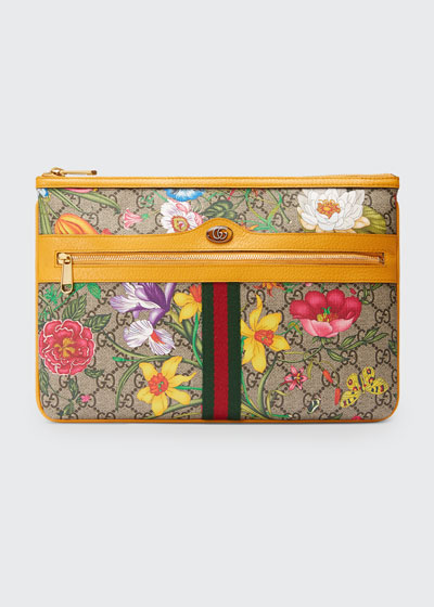 Ophidia Large GG Flora Pouch Clutch Bag