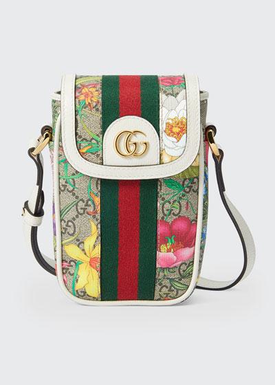 Ophidia GG Flora Phone Case Crossbody Bag