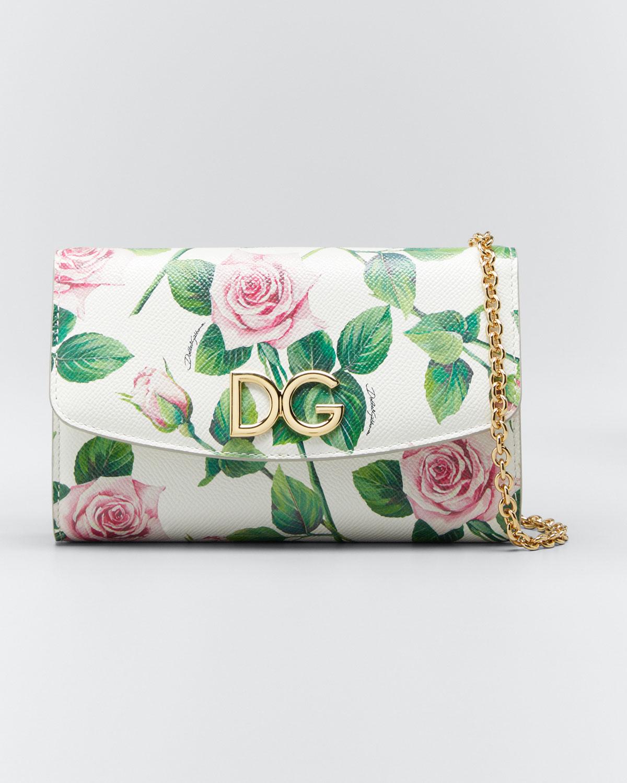 Dolce & Gabbana Mini Tropical Rose Crossbody Bag In White Pattern