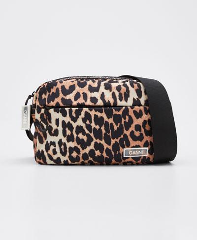 Nylon Leopard Crossbody Bag