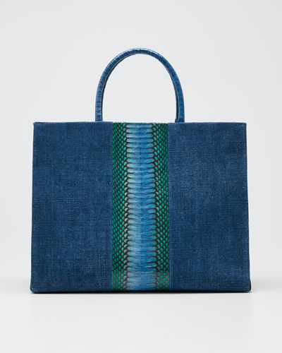 Double-Handle Linen Large Tote Bag
