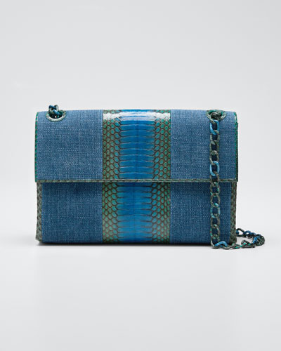 Madison Medium Linen/Snake Chain Shoulder Bag