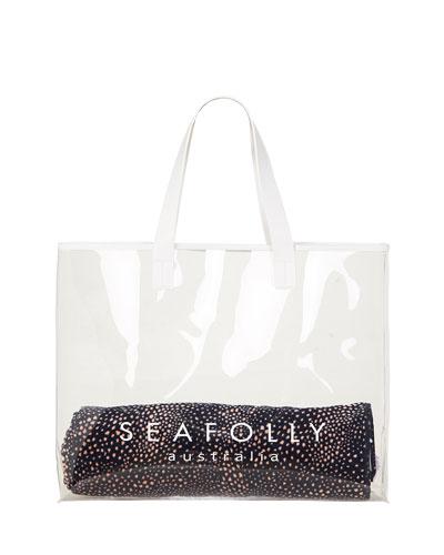 Transparent Logo Beach Tote Bag