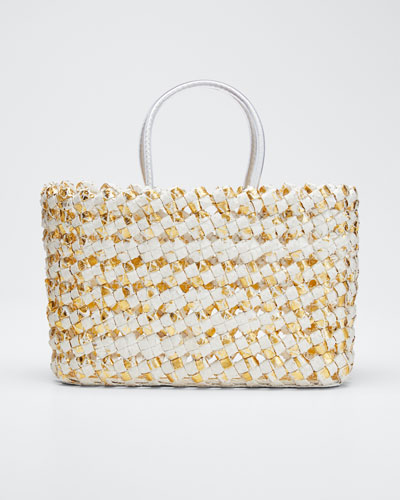 Medium Woven Python Tote Bag