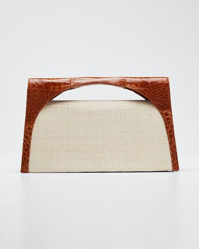 Sammy Large Keyhole Linen and Croc Clutch Bag