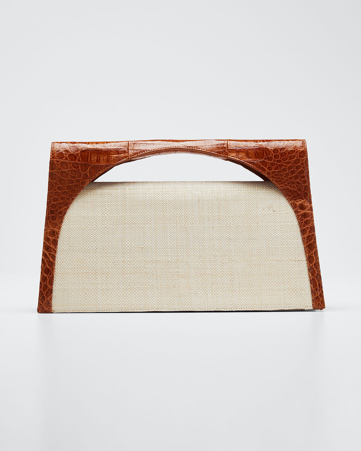 Nancy Gonzalez Clutch SAMMY LARGE KEYHOLE LINEN AND CROC CLUTCH BAG