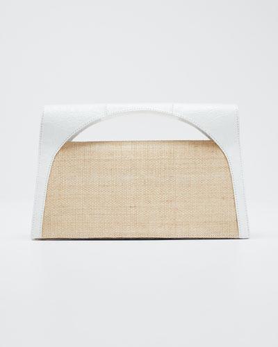 Sammy Small Keyhole Crocodile/Linen Clutch Bag