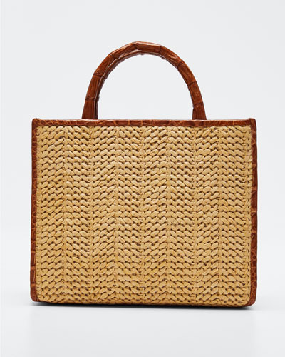 Double Handle Mini Raffia Tote Bag