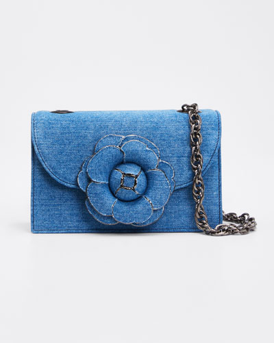 Tro Flower Denim Shoulder Bag
