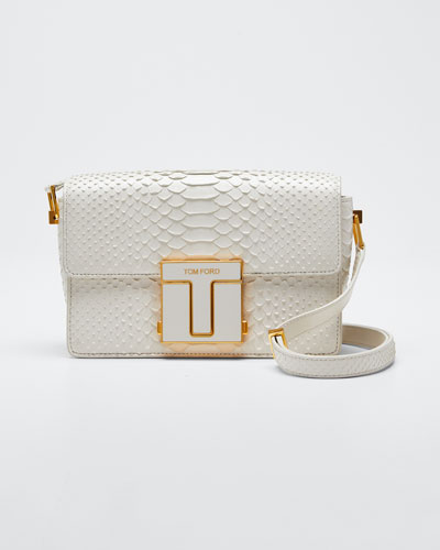 T-Clasp Semi-Shiny Python Shoulder Bag