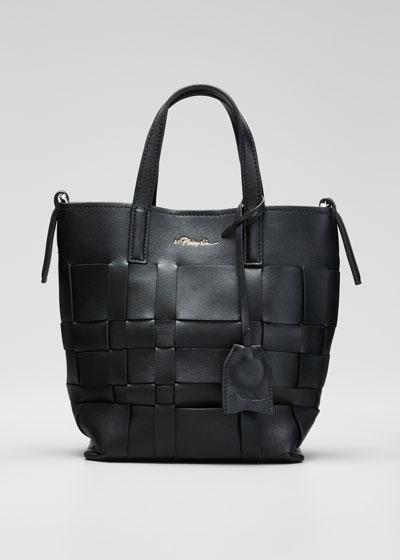 Lattice Woven Leather Bucket Tote Bag
