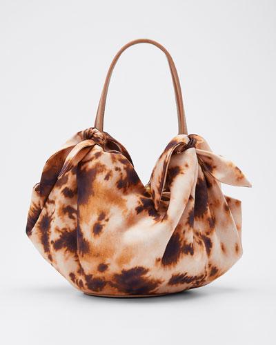 Silk Printed Mini Inda Top Handle Bag