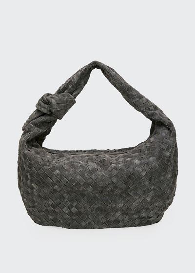 BV Jodi Large Intrecciato Suede Hobo Bag