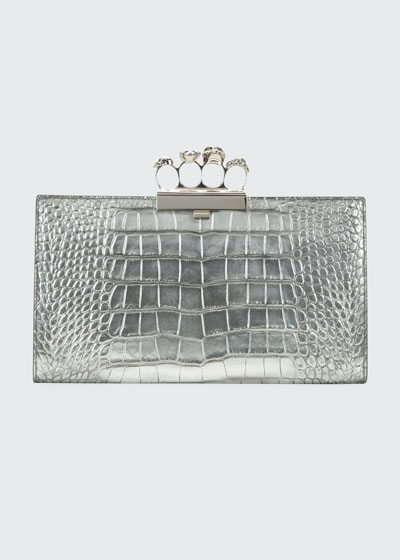 Skull Four-Ring Flat Metallic Clutch Bag