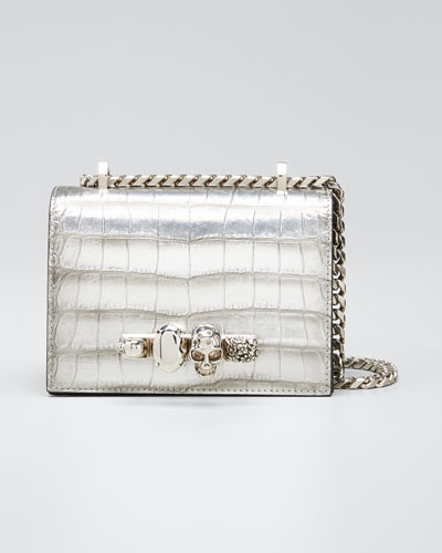Small Jeweled Croc-Embossed Shoulder Bag