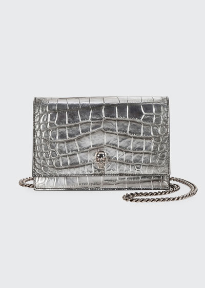 Mini Croc-Embossed Crossbody Bag with Small Skull
