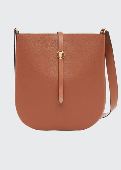 TB Grainy Leather Hobo Bag