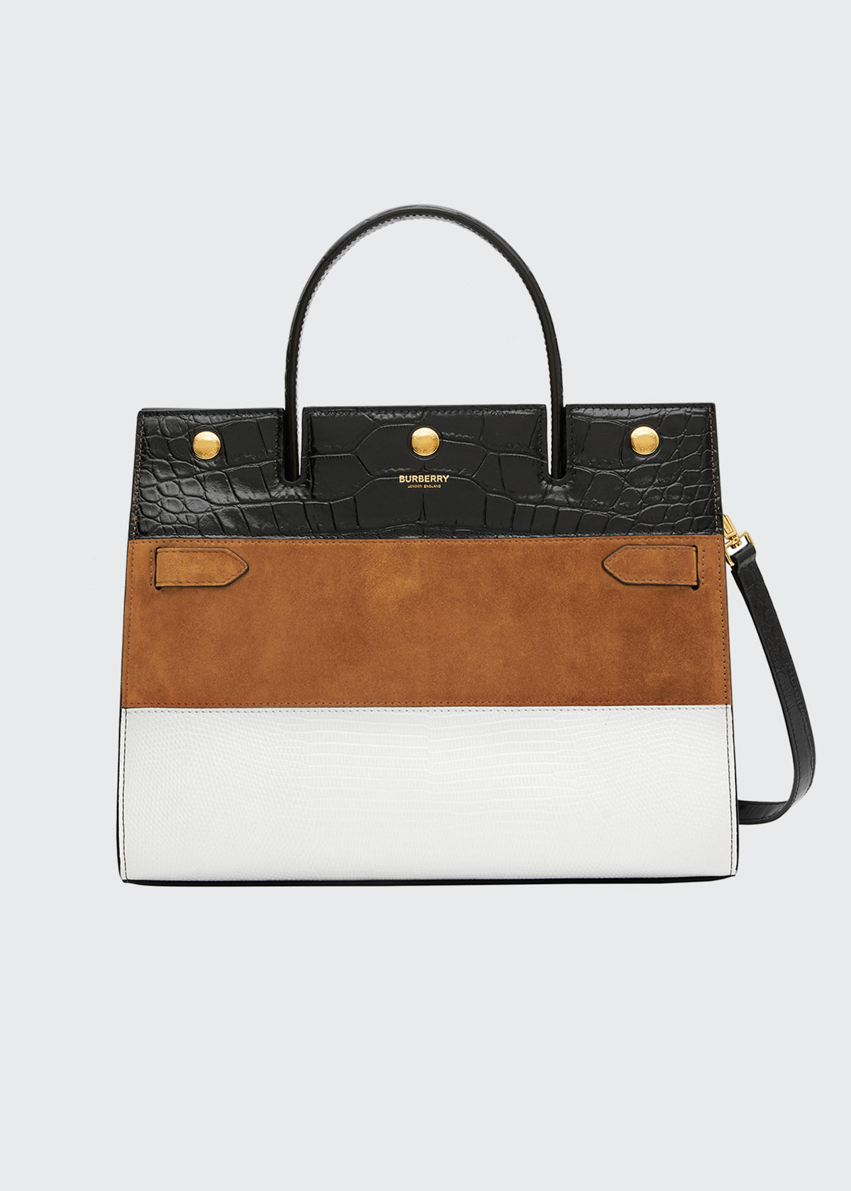 Burberry Medium Title Mixed Leather Top Handle Bag In White/ Maple