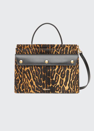 Small Pocket Leopard-Print Calf Hair Shoulder Bag
