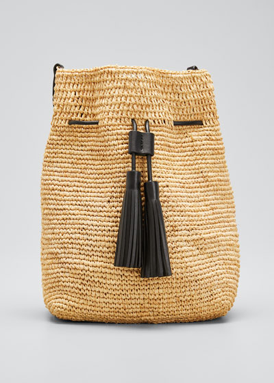 Mini Crochet Bucket Bag with Faux-Leather Tassels